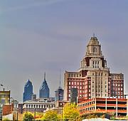 Philadelphia Digital Art Prints - Philadelphia Skyline from Camden Waterfront Print by Bill Cannon