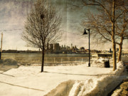 Snow Prints Posters - Philadelphia SnowScape Poster by Milton Brugada