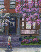 Brownstone Framed Prints - Philadelphia Street in Spring Framed Print by Susan Savad