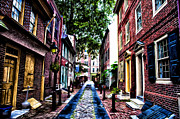 Philadelphia Digital Art Posters - Philadelphias Elfreths Alley Poster by Bill Cannon