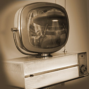 White Digital Art Prints - Philco Television  Print by Mike McGlothlen