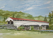 Covered Bridge Painting Metal Prints - Philippi Covered Bridge  Metal Print by Nancy Patterson