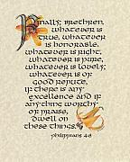 Bible Mixed Media Metal Prints - Philippians Calligraphy Metal Print by Betsy Gray
