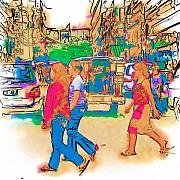 Street Mixed Media - Philippine Girls Crossing Street by Rolf Bertram