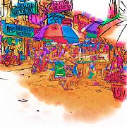 Rolf Bertram Art - Philippine Open Air Market by Rolf Bertram