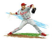Major League Baseball Framed Prints - Phillies Ace Roy Halladay Framed Print by David E Wilkinson