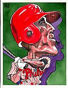 Baseball Art Drawings - Phillies Greg Dobbs by Robert  Myers