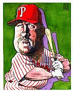 Baseball Art Drawings - Phillies Matt Stairs by Robert  Myers