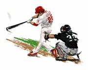 Home Run Digital Art Posters - Phillies MVP Chase Utley Poster by David E Wilkinson
