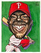 Baseball Art Drawings Originals - Phillies by Robert  Myers
