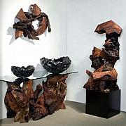 Glass Wall Sculptures - Phillips Collection - Las Vegas World Market Redwood Sculptures Gallery Display by Daryl Stokes