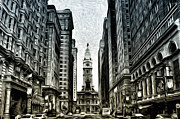 Philly Digital Art Metal Prints - Philly - Broad Street Metal Print by Bill Cannon