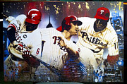 Chase Utley Paintings - Phillys Most Dangerous alternate version by Bobby Zeik