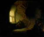Spiral Staircase Prints - Philosopher in Meditation Print by Rembrandt