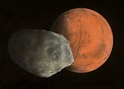 Phobos Framed Prints - Phobos And Mars, Artwork Framed Print by Richard Bizley