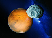 Planets Art - Phobos And Mars by Detlev Van Ravenswaay