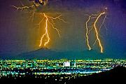 Monsoon Framed Prints - Phoenix City Lights  Framed Print by James Bo Insogna