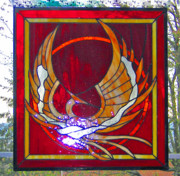 Extinct And Mythical Glass Art - Phoenix by Don Quackenbush