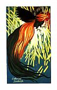 Extinct And Mythical Pastels Originals - Phoenix in Flight by Catherine Stasevich