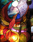 Extinct And Mythical Glass Art - Phoenix  by Karen Dawson