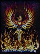 Extinct And Mythical Pastels Originals - Phoenix Rising by Amanda Martin