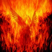 Fire Framed Prints - Phoenix Rising Framed Print by Andrew Paranavitana