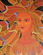 Goddess Mythology Paintings - Phoenix Woman by Melina Mel P