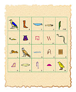 Hieroglyph Posters - Phonetic Egyptian Hieroglyphs Poster by Sheila Terry