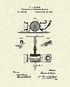 Record Player Drawings Posters - Phonograph 1878 Patent Art  Poster by Prior Art Design