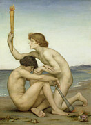 Naked Painting Framed Prints - Phosphorus and Hesperus Framed Print by Evelyn De Morgan