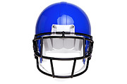 Isolated On Blue Background Framed Prints - Photo of an American football helmet isolated on white Framed Print by Richard Thomas