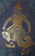 Buddhist Pyrography - photo of art painting on Thai temple wall by Komkrit Muanchan