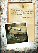 Bible Reading Prints - Photo of Bible on Table with Scripture Verse Print by Jill Battaglia