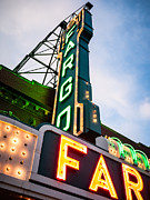 Red Sunset Framed Prints - Photo of Fargo Theater Marquee Sign at Night Framed Print by Paul Velgos