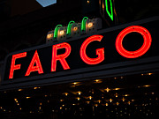 North Dakota Metal Prints - Photo of Fargo Theater Sign at Night Metal Print by Paul Velgos