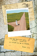 Cement Prints - Photo of Lady on Road with Bible Verse Print by Jill Battaglia