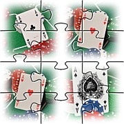 Photo Collage Prints - Photo Puzzle Of Poker Of Aces Print by John Vito Figorito