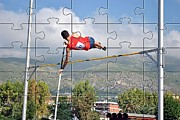 Athlete Photo Originals - Photo Puzzle Of Pole Vault Jump by John Vito Figorito