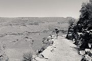 South Kaibab Trail Prints - Photographer on the South Kaibab Trail BW Print by Julie Niemela