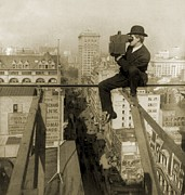 Photographer Perched On Slender Beam 18 Print by Everett