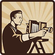 Camera Prints - Photographer Shooting Vintage Camera Retro Print by Aloysius Patrimonio