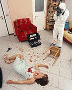 Police Officer Art - Photographing Crime Scene by Mauro Fermariello