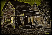 Abandoned Houses Digital Art Prints - Photos in an Attic - Homestead Print by Leslie Revels Andrews