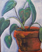 Potted Plant Paintings - Phyllis by Debbie Phillips Conejo