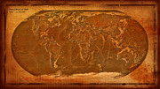 Antique Map Digital Art Metal Prints - Physical Map of the World Antique Style Metal Print by Teodora Atanasova