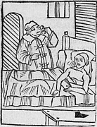 1506 Posters - Physician Examining Patients Urine Poster by Middle Temple Library