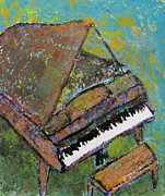 Piano Painting Originals - Piano Aqua Wall by Anita Burgermeister