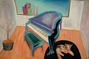 Fun Pastels Prints - Piano By The Bay Print by Rod  Grier
