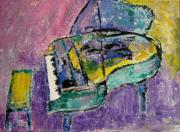 Grand Piano Prints - Piano Green Print by Anita Burgermeister