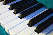 Key Digital Art - Piano Keys . v2 . Blue by Wingsdomain Art and Photography